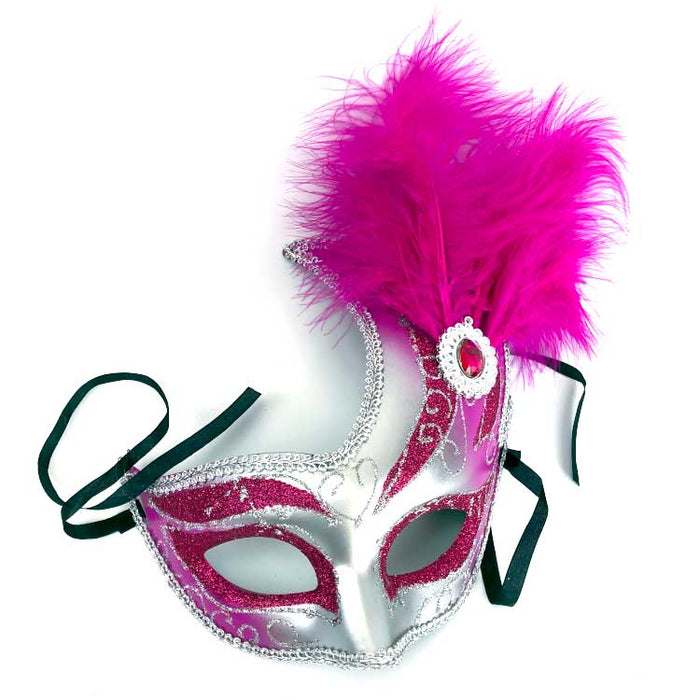 fuchsia feather mask available at Gulf Coast Beads