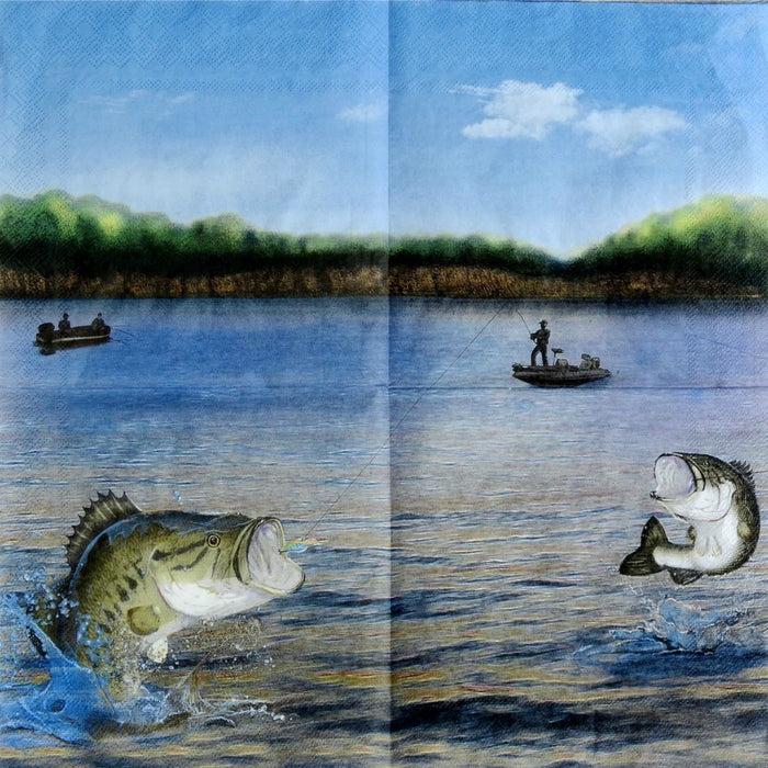 Napkins, Gone Fishin' Lunch 16pk, Decorations-GulfCoastBeads.com