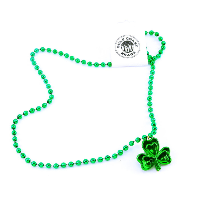 Necklace, 7mm 33in Green Shamrock, Beads-GulfCoastBeads.com