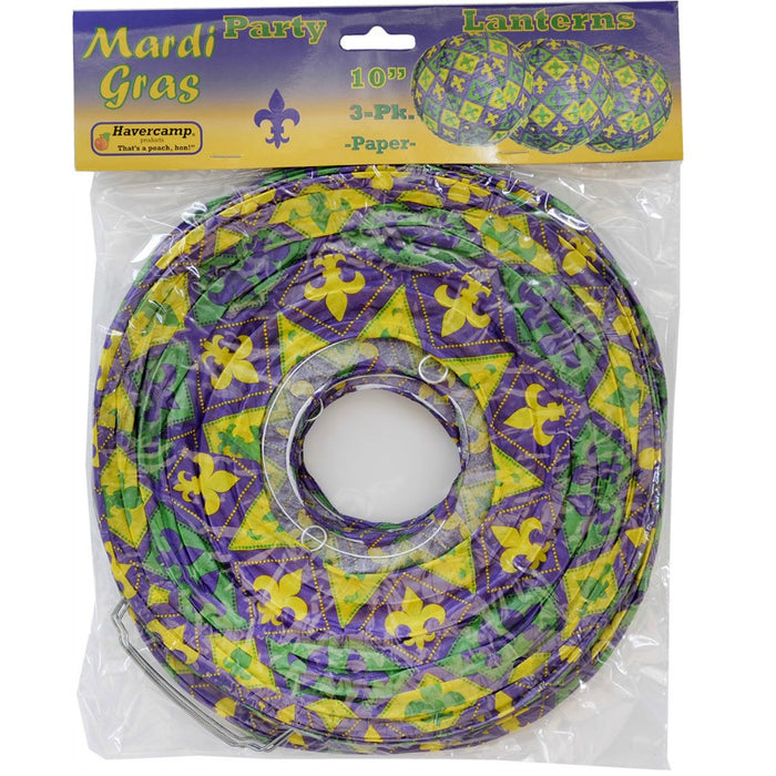 Lanterns, Mardi Gras Paper 10in 3Pc/Pk, Decorations-GulfCoastBeads.com