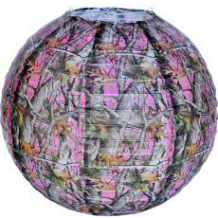 Lantern, Pink Camo 12in 1Pc, Decorations-GulfCoastBeads.com