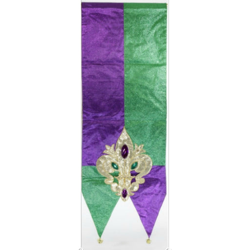 Best Place To Buy Table Runner w/Bells, Mardi Gras Fleur de Lis Purple and Green 72x13in Online - Gulf Coast Beads