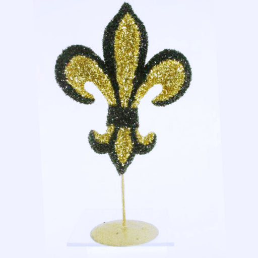 Centerpiece, 13in Tinsel Fleur De Lis, Decorations-GulfCoastBeads.com