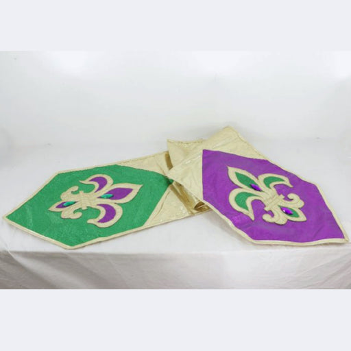 Best Place To Buy Table Runner, Mardi Gras Fleur de Lis Gold 72x13in Online - Gulf Coast Beads