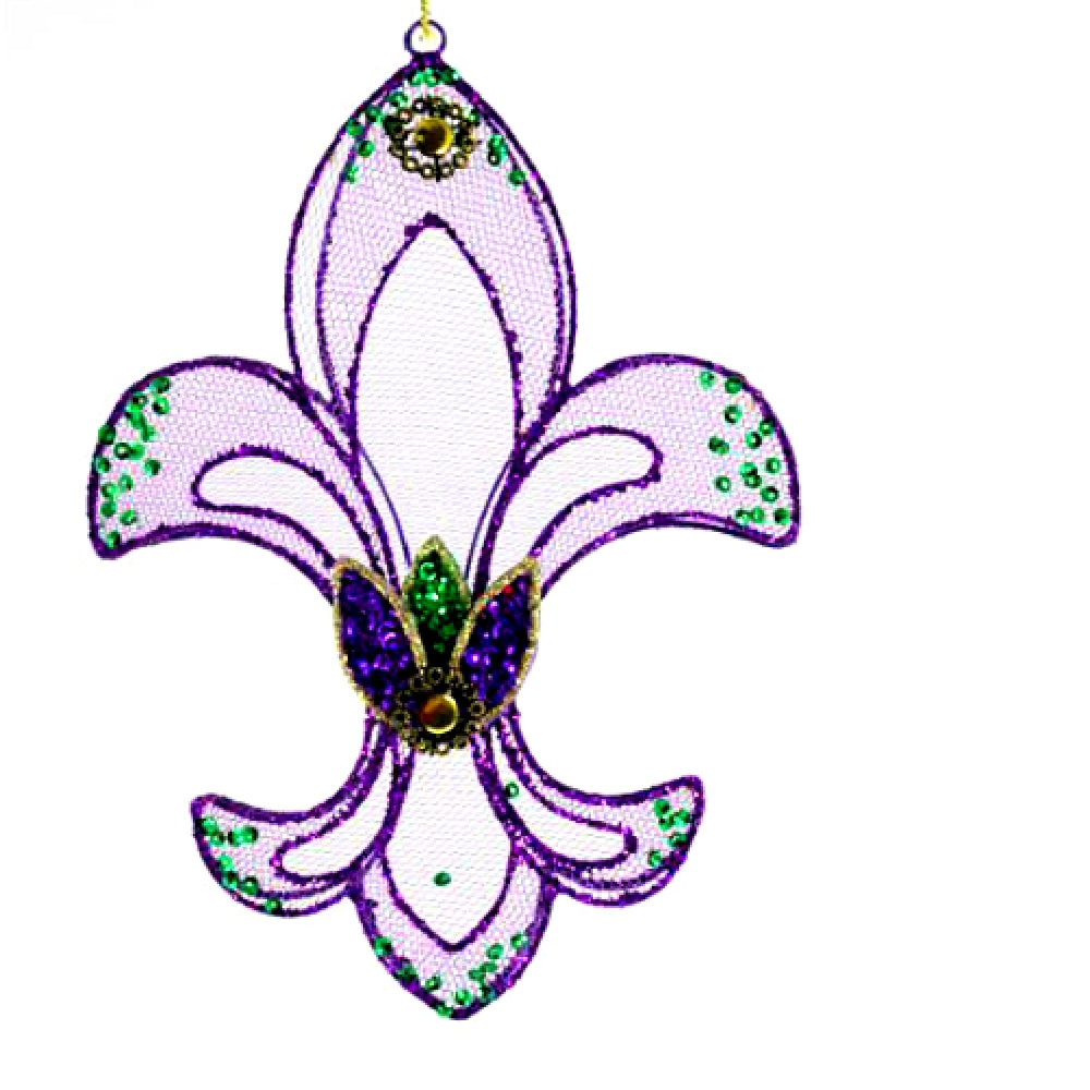 Best Place To Buy Ornament, Stained Glass like Fleur de Lis 1 Pc Online - Gulf Coast Beads