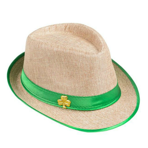 Fedora, Gold Shamrock Brown-Straw 1 piece, Apparel-GulfCoastBeads.com