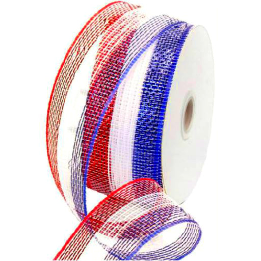 Best Place To Buy Ribbon, 2.5in x 25yds/Roll Metallic Red White Blue Stripe Mesh Ribbon Online - Gulf Coast Beads