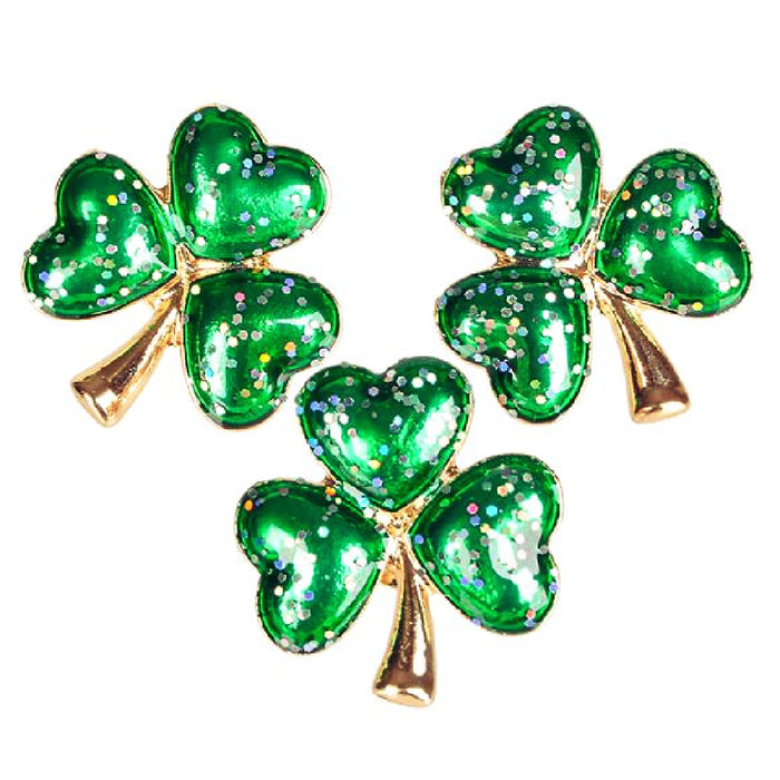 Best Place To Buy Pin, 1 in diameter Glitter Shamrock 1piece Online - Gulf Coast Beads