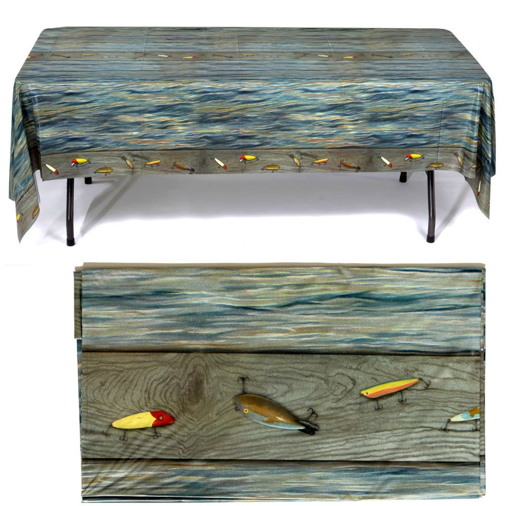 Table Cover, Gone Fishin' 54x108in PVC 1Pc, Decorations - GulfCoastBeads.com