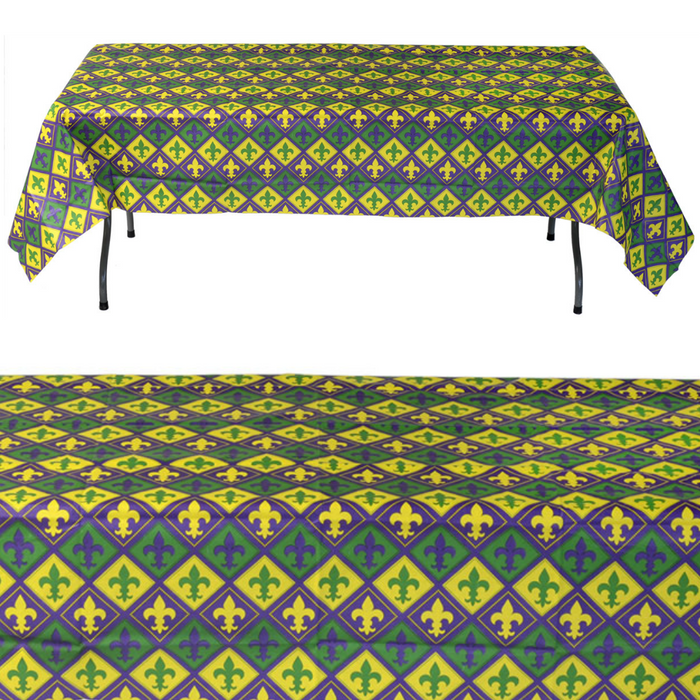 Table Cover, Mardi Gras Design 54x108in Paper 1Pc, Decorations - GulfCoastBeads.com