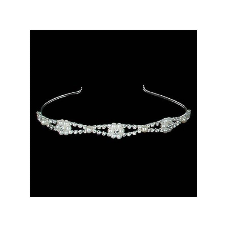 rhinestone and pearl headband tiara - Gulf Coast Beads