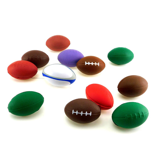 Football, 3in-4in Foam Assorted Color 7Dz/Bag, Novelty-GulfCoastBeads.com