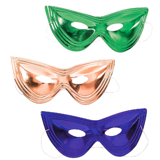 Masks, 8in Cat Eye Shiny Metallic Purple, Green and Gold, Apparel-GulfCoastBeads.com