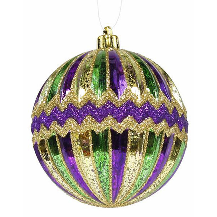 purple, green, gold 100mm ornament for mardi gras decor