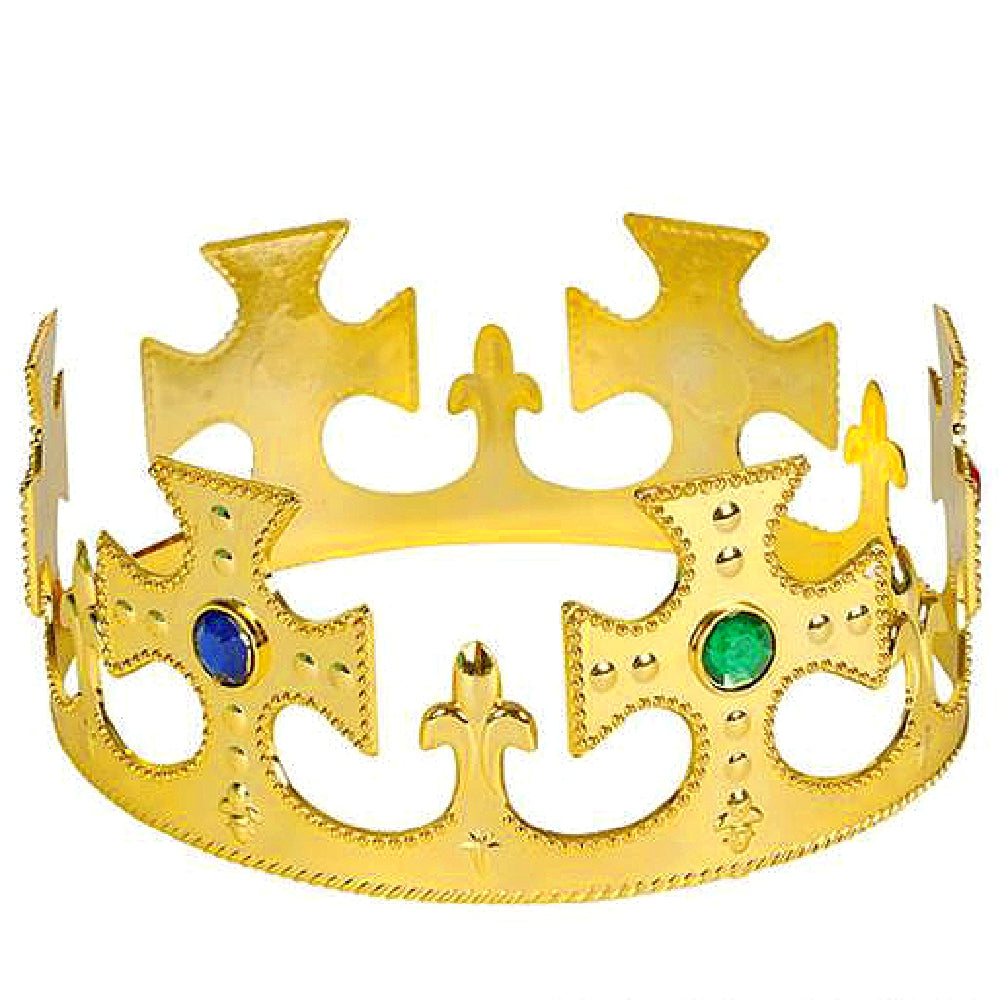 Crown, Bright Gold with Jewels, Apparel-GulfCoastBeads.com