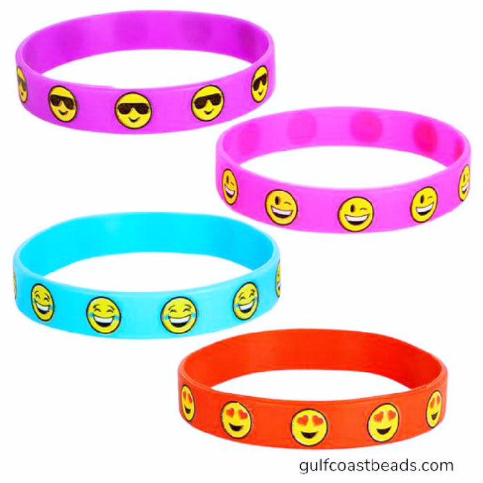 Bracelet, Rubber Emoticon Assorted Colors, Novelty-GulfCoastBeads.com