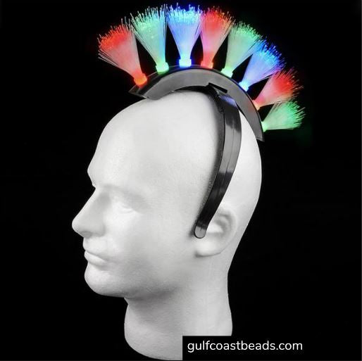 Headband, Flickering Fiber Optic Light Up Mohawk, Apparel-GulfCoastBeads.com
