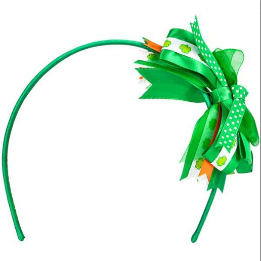Headband Bow, St. Patricks Day Ribbon 1 piece, Apparel-GulfCoastBeads.com