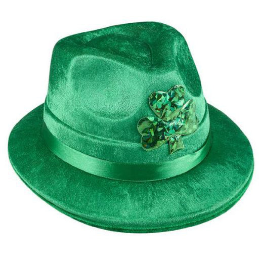 Fedora, Irish Green Velvet Shamrock 1 piece, Apparel-GulfCoastBeads.com
