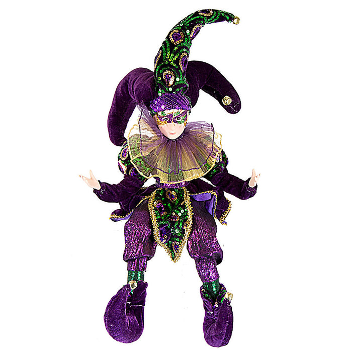 mardi gras elf in jester costume - 26inches high