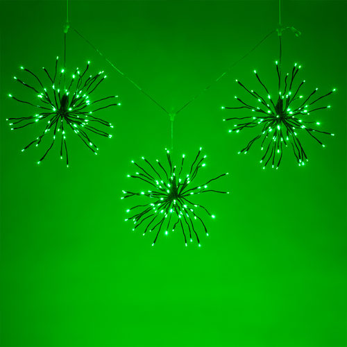 Lighted Branches, Green Starburst Green LED, Decorations-GulfCoastBeads.com