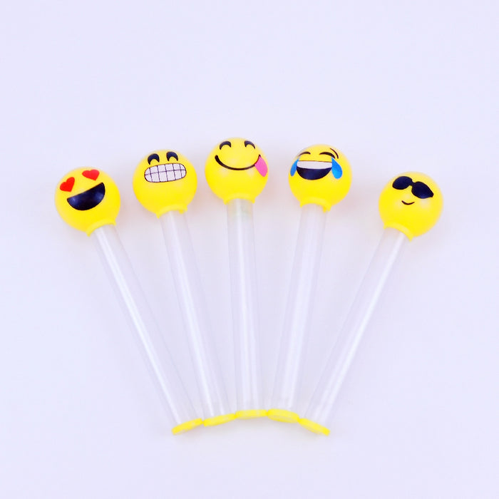 Baton -9.5in Light-Up Yellow Bouncy Baton with Emoji, Novelty-GulfCoastBeads.com