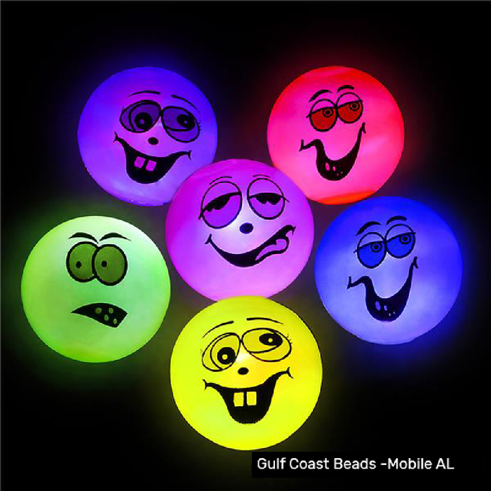 Ball -Light up Funny Face Balls, Novelty-GulfCoastBeads.com