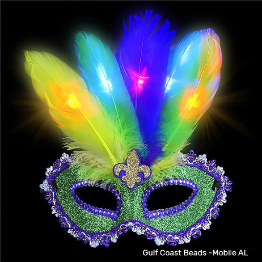 Mask, Glittered Mardi Gras Light-Up 15in Feather, Single, Apparel-GulfCoastBeads.com