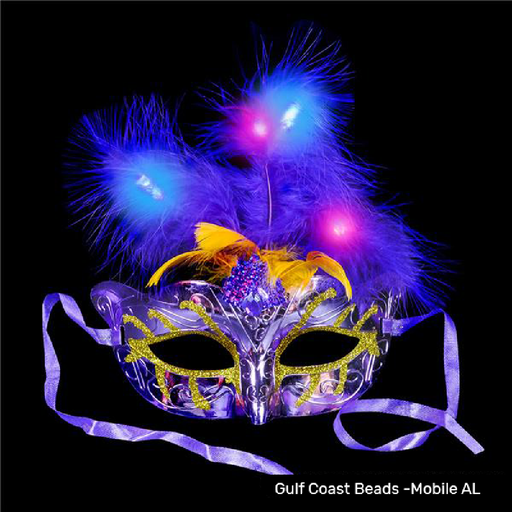 Mask, Mardi Gras Light-Up Feather, Single, Apparel-GulfCoastBeads.com
