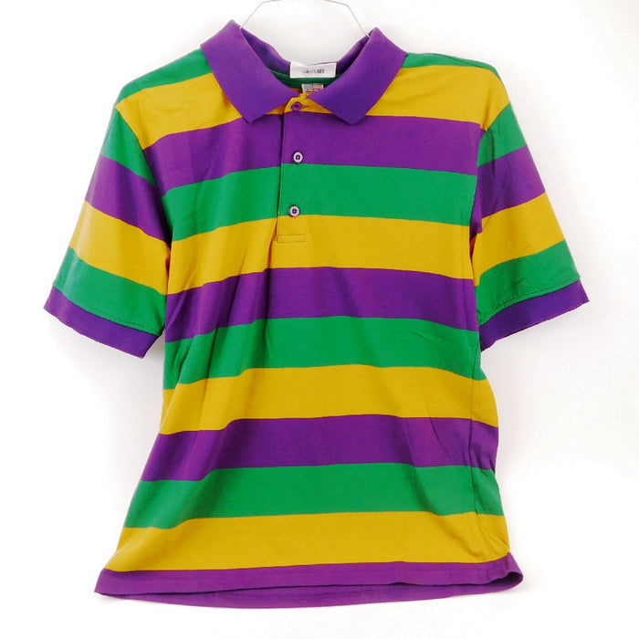 Best Place To Buy Shirt, Mardi Gras Colors Rugby Short Sleeve Online - Gulf Coast Beads