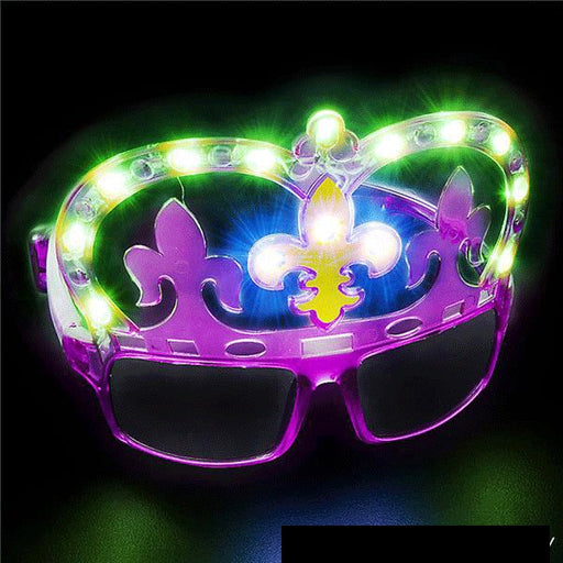 light up fleur de lis mardi gras glasses for cool times - Gulf Coast Beads