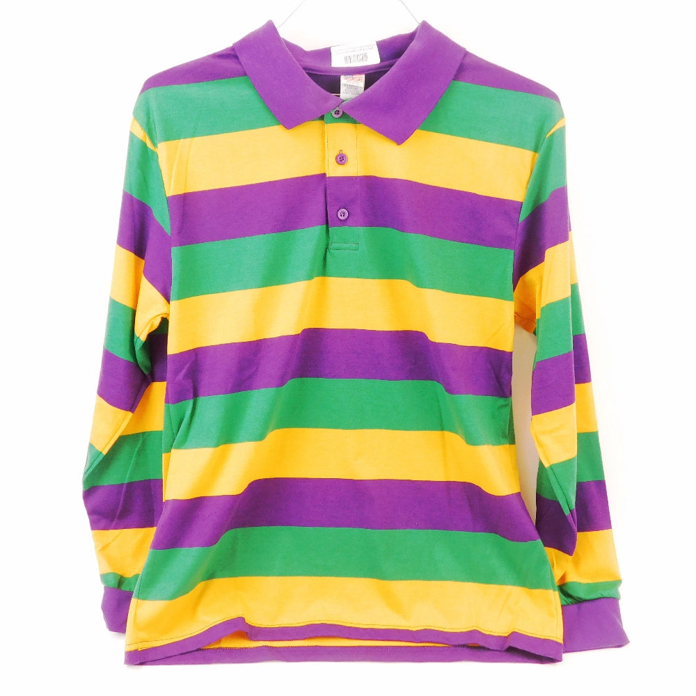 Best Place To Buy Shirt, Mardi Gras Colors Rugby Long Sleeve Online - Gulf Coast Beads