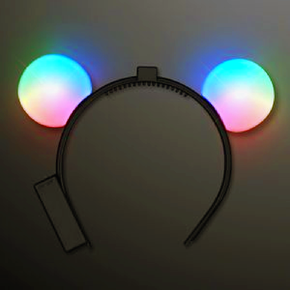 Headband, LED Light Up Color Changing Mouse Ears, Apparel-GulfCoastBeads.com