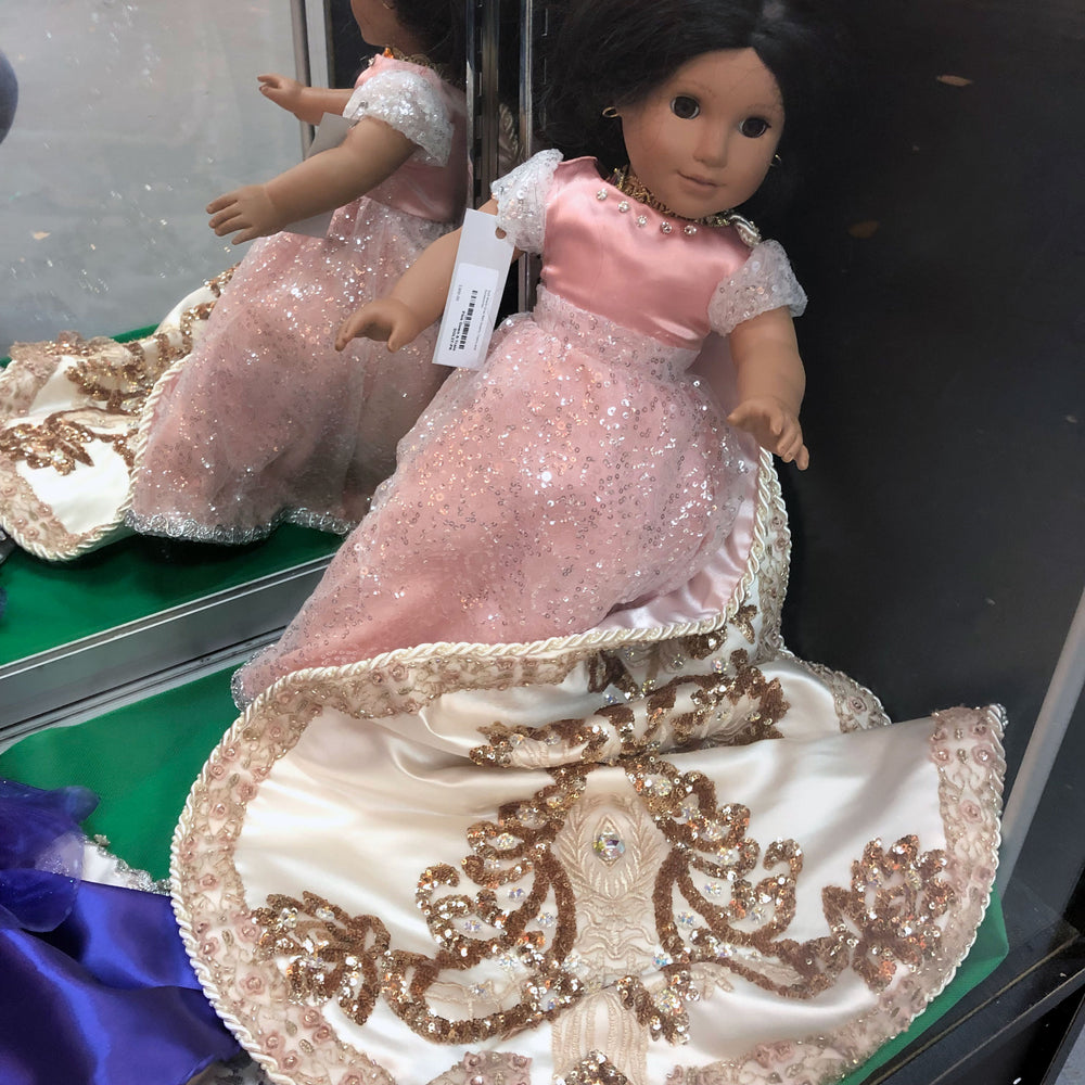 debutante pink Mardi Gras doll gown and train - Gulf Coast Beads
