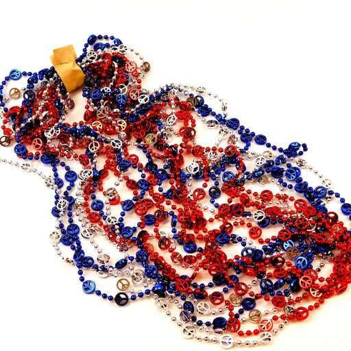 Beads, 14mm 48in Metallic Red, Blue, Silver with Peace Symbols, Beads-GulfCoastBeads.com