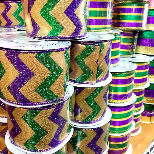Best Place To Buy Ribbon, Metallic 2.5in x 10yds/Roll Mardi Gras Decorating Ribbon Online - Gulf Coast Beads