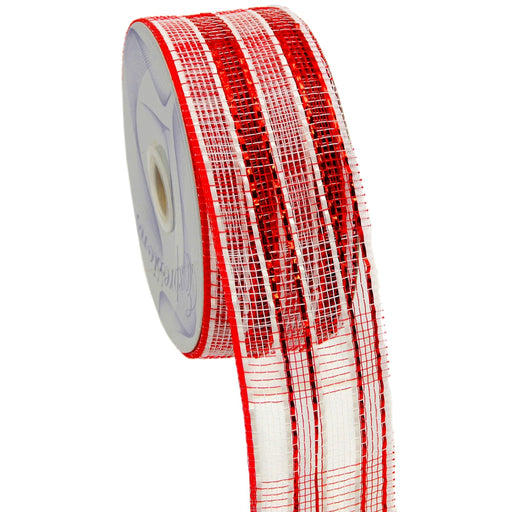 Best Place To Buy Ribbon, 2.5in x 25yds/Roll Metallic Red Silver Stripe Mesh Ribbon Online - Gulf Coast Beads