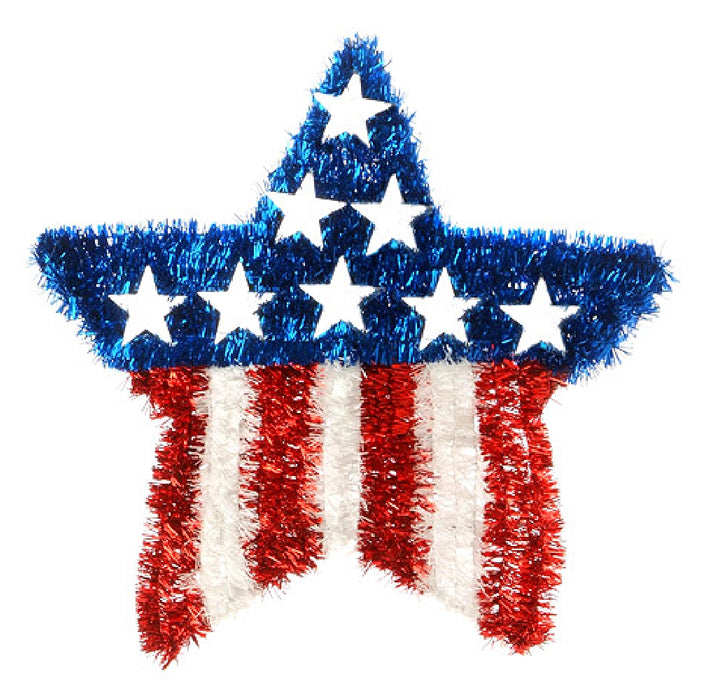 Best Place To Buy Star, Tinsel 17in Red, White, Blue Online - Gulf Coast Beads