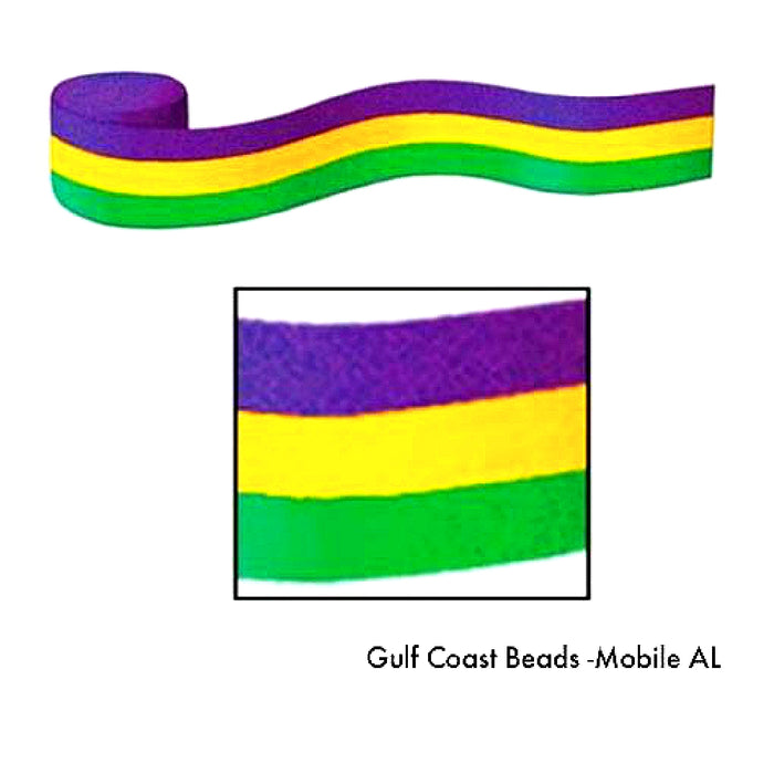 Best Place To Buy Streamer, Crepe Purple, Green, Gold 30ft 1 piece Online - Gulf Coast Beads