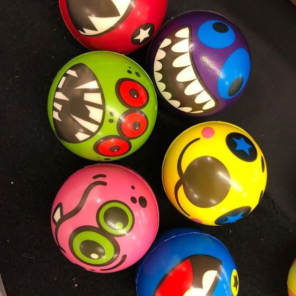 fun to throw stress balls in hilarious patterns available at Gulf Coast Beads