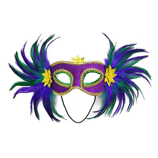 purple green gold mardi gras masks with feathers