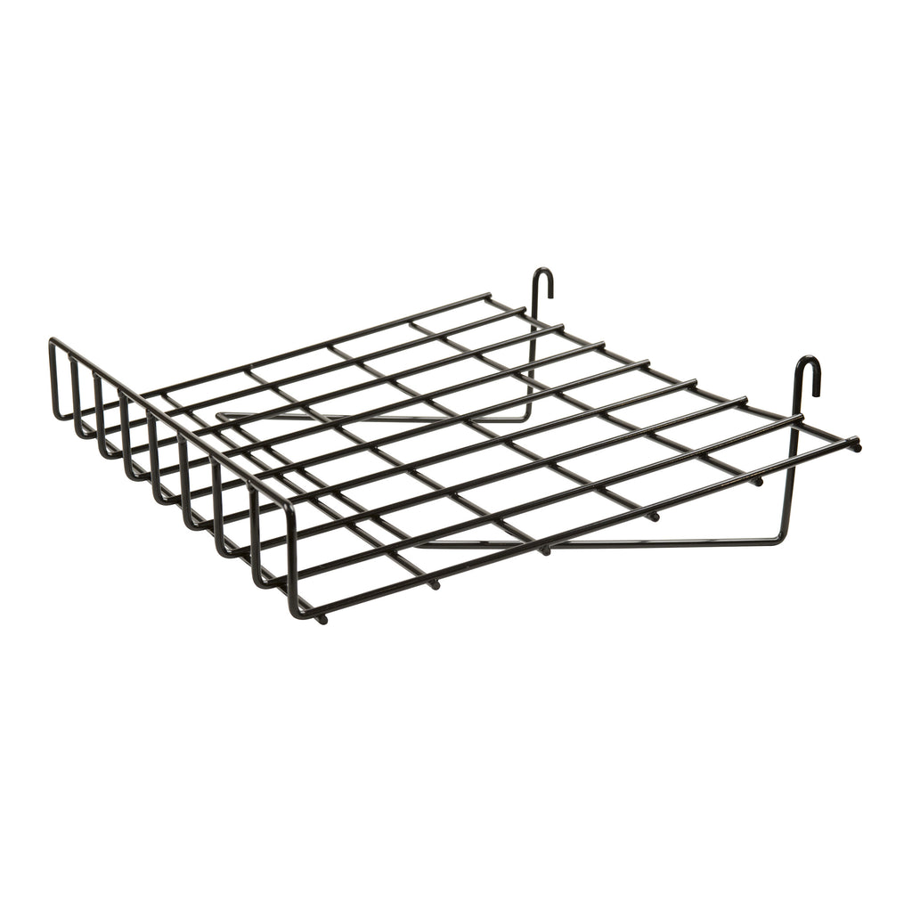 "Slant Shelf W/ Lip, For Grid Or Slatwall, 24""L X 15""D, Black"