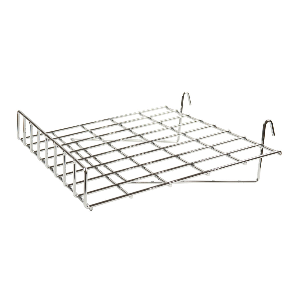 "Slant Shelf W/ Lip, For Grid Or Slatwall, 24""L X 15""D, Chrome"