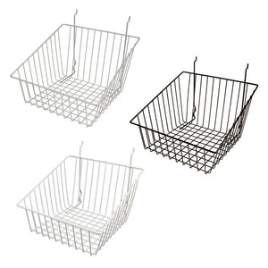 "Capitol Hardware All Purpose Sloped Retail Display Basket, 12"" x 12"" x 8"" rear - 4"" front, sold in sets of 6, price ea"