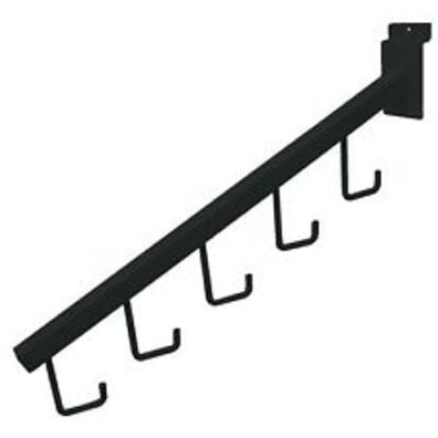 "Waterfall, For Slatwall, 16"" Sq Tube, W/ 5 Hooks, Black"