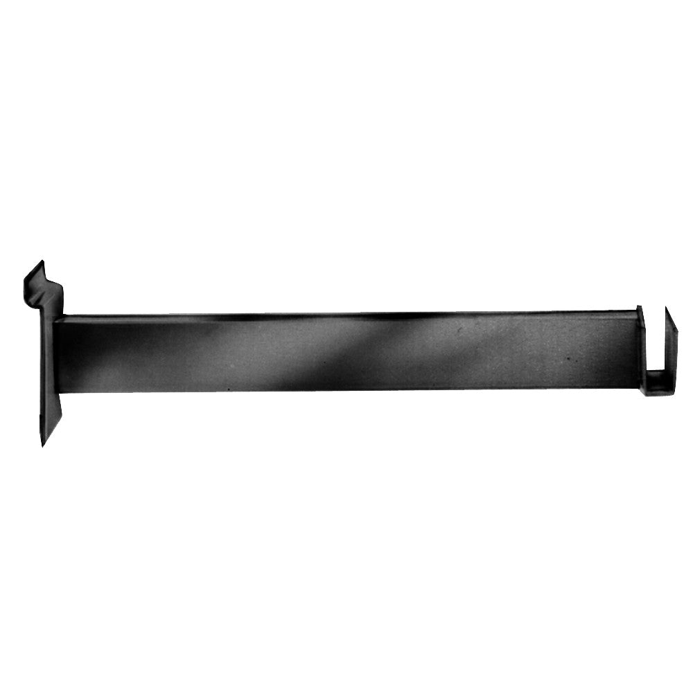 "Hangrail Bracket, For Slatwall, 12"", Holds Rect Tube, Black"