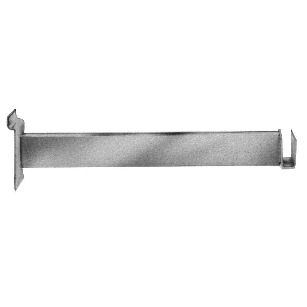 "Hangrail Bracket, For Slatwall, 12"", Holds Rect Tube, Chrome"