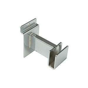 "Hangrail Bracket, For Slatwall, 3"", Holds Rect Tube, Chrome"