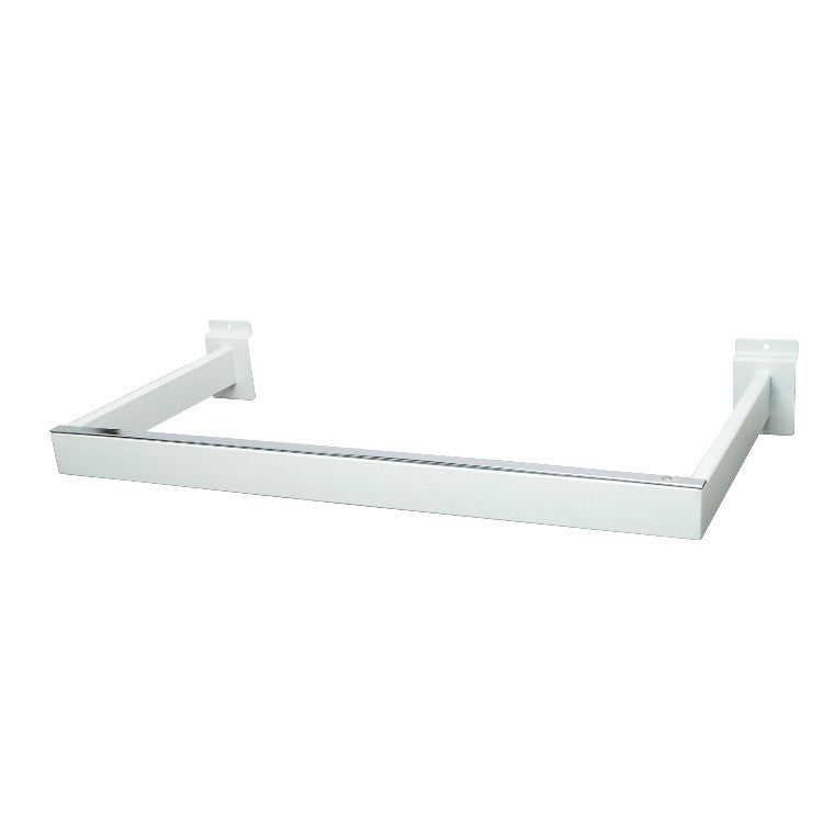 "Hangrail For Slatwall, ""U"" Shaped, 11""D X 22""L, Rect Tubing, Matte White"