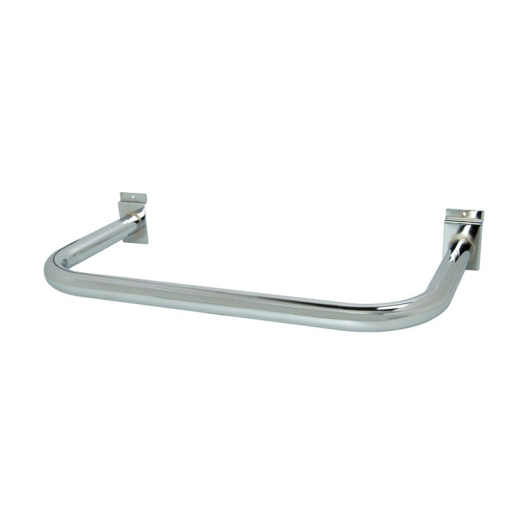 "Hangrail For Slatwall, ""U"" Shaped, 11""D X 22""L, Rnd Tubing, Chrome"